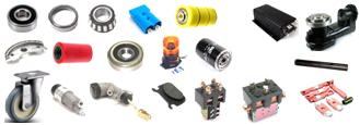 material handling equipment parts: Wheels, Motors, Drive Units, Bearings, Controllers, Gears, Axles, Contactors, Connectors, Links, Contacts, Brake Shoes, Casters, Rectifiers,	Brake Cylinders, Bushings, Potentiometers, Safety Equip